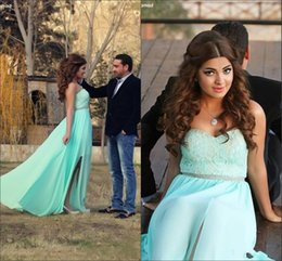 Wholesale Muslim Graduation Dresses - 2018 Spot Mint Green Bra Long Skirt Prom Dresses Muslim Middle East Party Dress Front Opening Lndia Reception Bandages Cheap Evening Dresses