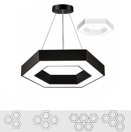Wholesale Hanging Lamp Cord - Modern Office Hexagon Led Pendant Light Minimalism Metal Pendant Fixtures Luminaria Lampares Led Hanging Light Suspension Lamp