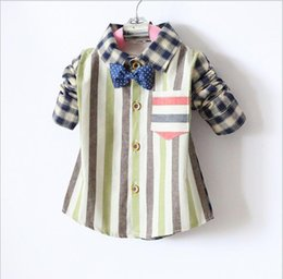 Wholesale contrast ties - boys shirt 2018 INS spring autumn NEW ARRIVAL Kids pure Cotton long Sleeve striped and plaid turn down collar bow tie shirt free shipping