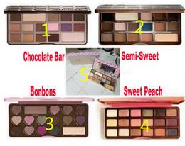 Wholesale White Chocolate Wholesale - Factory Direct DHL Makeup Chocolate Bar Eyeshadow semi-sweet Sweet Peach Bon Bons Palette 16 Color white chocolate bar Eye Shadow plates