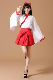 Wholesale Kimono Cosplay Female - kimono Halloween anime costume show ninja adult Special Japanese Witch Sleeve Kimono Halloween COS clothing Kikyo Witch Anime cosplay