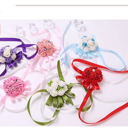 Wholesale Beautiful Displays - Artificial Simulation Pearl Corsage Beautiful Bridesmaid Hand Flower Wedding Party Decoration Wrist Flowers Multi Color New Arrive 2yz Z R