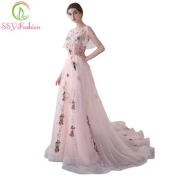 Wholesale Photography Modern - SSYFashion New Sweet Pink Lace Long Evening Dress The Bride Romantic Travel Photography Flower Prom Party Gown Robe De Soiree