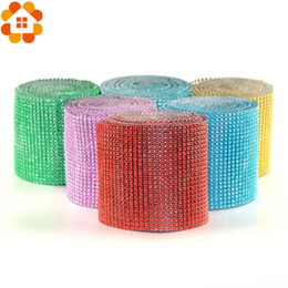 Wholesale Diamond Supply Box - 1Yard 91.5MM 20Colors Mesh Trim Bling Diamond Wrap Cake Roll Tulle Crystal Ribbon For DIY Party Wedding Decoration Supplies