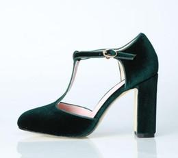 Grüne blockschuhe online-Green Velvet Block Heels Damen Party Schuhe Sommer T-Strap High Heels Damen Sandalen runde Kappe Knöchel Schnalle Frauen Pumpen