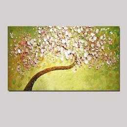 Цветочные ножи онлайн-Цветы Дерево Палитра Нож масляной живописи на канве ручной работы современного домашнего офиса отеля стены искусства декора DH5