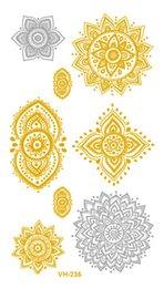 Canada Transfert de l'eau sexy or doré argent Tatoo Design fleurs creuses faux paillettes métallique autocollant de tatouage temporaire tatouage Taty cheap gold silver fake tattoos Offre