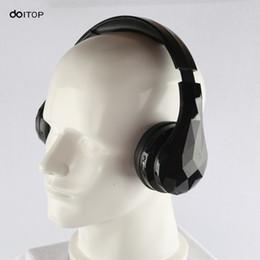 Wholesale blue diamonds music - DOITOP Diamond Wireless Bluetooth Headset Stereo Music Earphone Folding Sport Handfree Headphone with Mic For iPhone Samsung Pad