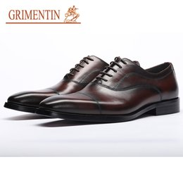 dceeaee63cc9 GRIMENTIN Brand Mens Wedding Shoes Hot Sale Genuine Leather Pointed Toe  Black Brown Italian Dress Business Men Formal Shoes Size:37-44 YJ04