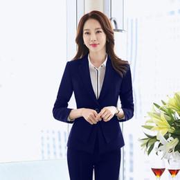 Entreprises primaires en Ligne-femmes printemps et automne veste de costume féminin professionnel costume de travail à manches longues entreprise vêtements de travail