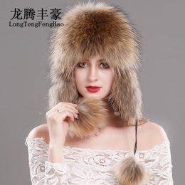 sombrero femenino ruso Rebajas Sombrero de piel de zorro ruso gorro de  punto gorro de piel 3150054a421