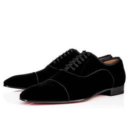 Uomini che camminano in mocassini online-[Original Box] Moda Bottom Rosso Scarpe Greggo Orlato Oxford Scarpe Uomo Donna Walking Flats Wedding Party Mocassini Scarpe 38-46