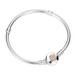 2019 brazaletes de oro baratos 18k pulseras Auténtica pulsera de pan de plata de ley 925 MOMEMTS Pulsera de cadena de serpiente de dos tonos de firma Brazalete en forma de abalorios Joyas con dijes