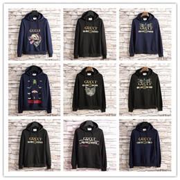 Wholesale Wolf Print Hoodies - Wolf Glittered Embroidered Cotton-Jersey Hoodie Fashion Italy Designer men women Luxury Brand bee Print Man Sweatshirts streetwear hoodies