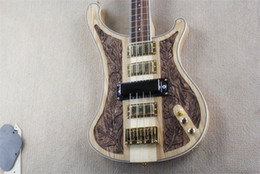 collo attraverso la chitarra basso Sconti New Style edizione deluxe neck through body nc carving Rick 4003 Nature Wood 4 Pickups 4 corde basso elettrico dorato Hardware