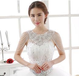 2019 kristall perlen hochzeit jacke Luxuriöse Kristallrhinestone-Schmuck-Brautverpackungen Weiße Spitze-Hochzeits-Schal-Jacke Bolero-Jacken-Hochzeits-Kleid mit wulstigem rabatt kristall perlen hochzeit jacke