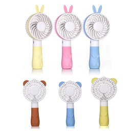 Wholesale usb operated fan - Mini Portable Handheld Cooling Fan Lovely Cute Cartoon Fan Bear Rabbit Battery Operated Rechargeable Desktop USB Fan