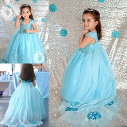Abiti baby carino per matrimoni online-Baby Blue Flower Girls Abiti per matrimoni Appliques Ball Gowns Ragazze Pageant Dress Tulle Carino prima comunione Dress Toddlers