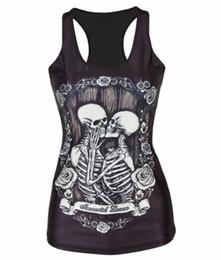 Cráneos de la ropa de las mujeres online-Nueva Hot 3D Skulls Sports Tank Tops mujeres Sexy sin mangas de la camiseta ropa de yoga elástico chalecos de correr camisola personalidad S-4XL