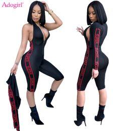 Lettera impostata online-Adogirl Letter Print Tuta da donna Zipper Up Halter Knee Length Bandage Tuta + Bomber Jacket 2 pezzi Set Outfit