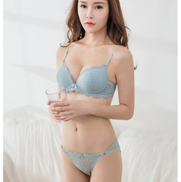 047b1605301b6 Fashion sexy deep lace V-neck Bra + Briefs young girl underwear panties  small push up brassiere lingerie adjustable bra set