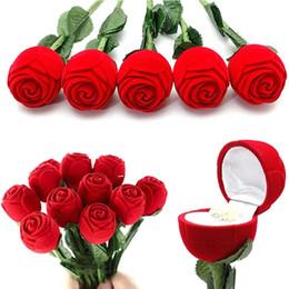 Mini Fleur Artificielle Rose Rouge Belle et Romantique Tête Boîte à Bijoux Bague De Mariage Boitier Cadeau Boucles D'Oreilles Support de Stockage D'affichage ? partir de fabricateur