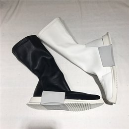 Wholesale White Boot Soles - 2018ss New exclusive customize tank RO Elastic sleeve genuine leather sock boots thick sole ankle owen boots