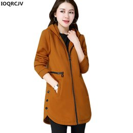 Wholesale Middle Age Women Clothing - 2018 Winter Jacket Coat Plus Velvet Hooded Sweatshirts Middle-aged Mother Clothing Casual Large Size Women Tops Outerwear AA19