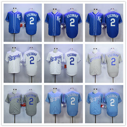 Wholesale Baby Base - 2 Alcides Escobar Men Baseball Jersey Cream White Grey Baby Blue Dark Pullover Cool Base Stitched Home Away