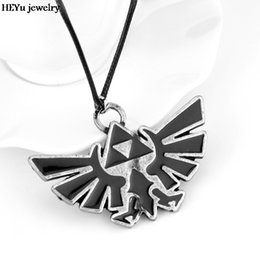 Wholesale legend zelda accessories - COOL The Legend of Zelda Triforce Vintage Alloy Pendent Charm Necklace Rope Leather High Quality Gift Game Jewelry Accessory