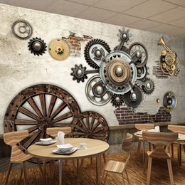 Wholesale vintage fiber art - Custom Mural Wallpaper Retro Gear Machinery Wooden Wheels Creative Personality Art Wall Painting Cafe Bar Restaurant Wallpaper
