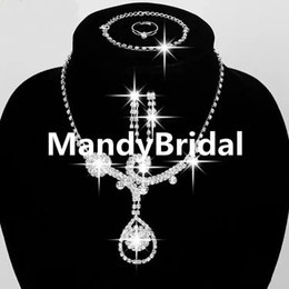 Wholesale Ball Chains For Jewelry - 2018 Wedding Jewelry Rhinestone Necklace and Earrings Set Prom Party Jewelry In Stock Earrings and Chain Bridal Jewelry Sets for Bridal