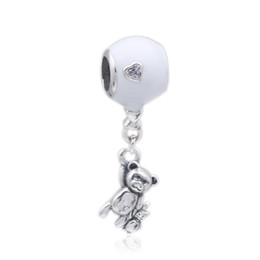 enamel pendants silver 925 UK - 2018 Mother Day Authentic 925 Sterling Silver Enamel Teddy & Balloon With Crystal Pendant Bead Charm Fit Pandora Bracelet Bangle DIY Jewelry