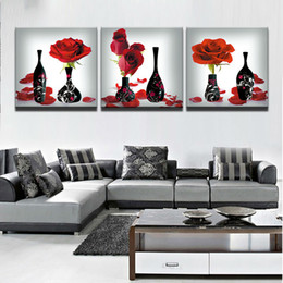 2019 foto di fiori rosa neri Quadro dipinto su tela Poster Quadro per soggiorno Quadro decorativo Quadro 3 Quadro con rose rosse Fiore Vasi neri Immagini modulari sconti foto di fiori rosa neri