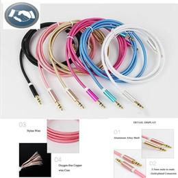 Teléfonos móviles color oro online-Cable auxiliar de 3,5 mm a 3,5 mm Cable de nylon Conector macho dorado a macho Cable de audio Con el paquete para el teléfono móvil del coche MP3 / MP4 Altavoz para auriculares