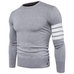 Maglione dei polsini online-Maglione pullover uomo 2017 maschio di marca casual slim maglioni uomo alta quaility polsini lotta colour copertura hedging maglione uomo