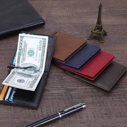Titolari di carte promozionali online-Utra sottile RFID blocco frontale tasca portafoglio in pelle con fermasoldi per uomini donne titolare della carta nuovo regalo promozionale logo in rilievo