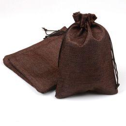 Borse da regalo in lino online-Undecided Unside Corda Pulling Lino Bundle Pocket Coffee Colore Coulisse Borse Confezione Buste Wedding Ceremony Gift 1 5rc gg