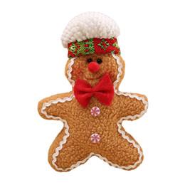 Wholesale gingerbread man wholesale - Cute Creative Gingerbread Man Ornament Stuffed Christmas Tree Hanging Pendant