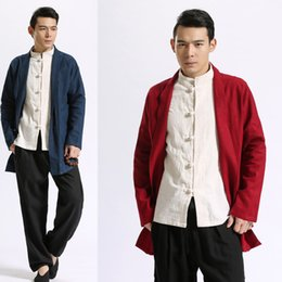 Wholesale Ethnic Clothing Men - Casual Trench Coat Men Linen Cardigans Plus Size Blue Black Trench Coat Spring Autumn Sleeve Mens Overcoat Ethnic Linen Clothes