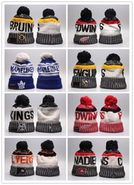 Wholesale Hockey Beanies - 2018 new NHL Women Winter Knitted Wool Cap Blackhawks Penguins Flyers Sharks Beanies Unisex Casual Hats & Caps Men Hip-Hop Beanie Warm Hat