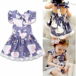 Wholesale Swan Style - Girls Pleated Dress Swans Printed Cartoon Design Suspender Skirt Soft Breathable Cool Cotton Fabric Summer Dresses 0-24M