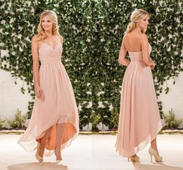 Wholesale beach bridesmaid halter dresses - Blush Pink Chiffon High Low Bridesmaid Dresses 2018 Cheap Halter Pleats Back Zipper Long Beach Country Garden Maid Of Honor Gowns