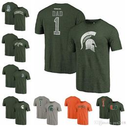 Fanatici di marca Michigan State Spartans Miami Hurricanes Green Greatest Dad Tri-Blend Heathered Vault Two Hit Arch T-Shirt da abbigliamento vintage di motocicletta fornitori