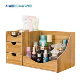 Wholesale Wood Desk Organizers - HECARE Jewelry Storage Container Home Storage Wooden Box Handmade DIY Assembly Case Organizadores Wood Desk Makeup Organizer NEW