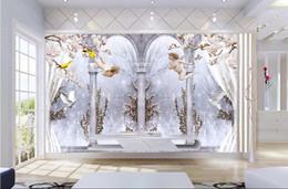 Peinture personnalisée en Ligne-Personnalisé 3d peintures murales papier peint 3d photo fond d'écran peintures murales Angel mural colonne romaine pigeon 3D TV fond mur peinture chambre décoration