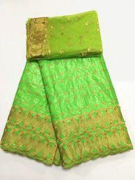 2019 robes en dentelle vert citron 5Y Beau tissu africain vert citron Bazin brocart dentelle et 2Y français net dentelle broderie avec perles pour robe BZ1-1 robes en dentelle vert citron pas cher