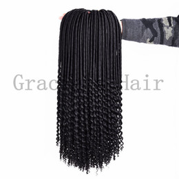 Wholesale Synthetic Hair Extensions Burgundy - Beauty curly synthetic hair extensions 20inch 100g crochet braids dreadlocks braids freetress hair extensions faux locs curly ends hair