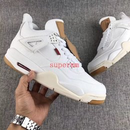 Wholesale man jeans jacket new - 2018 New Release 4 IV White Denim Jacket 4s Jeans Mens Basketball Shoes Limited Luxury Basket Ball Designer Sneakers Zapatos Trainers Shoe