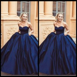 Wholesale Strapless Navy Gown - Navy Blue Ball Gown Prom Dresses 2018 Modern Sweetheart Sleeveless Zipper Back Arabic Women Formal Evening Gowns Custom Made Plus Size Satin